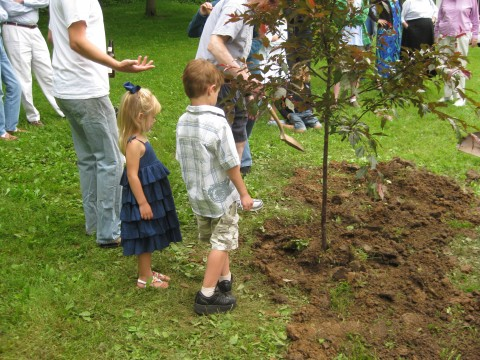 Camilla and Daniel Steussy help with the final planting of the tree.