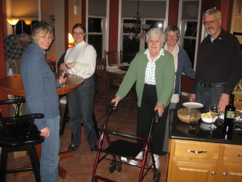 Dad, Marti, Cally, Mom, Helen, Tom at the party on Friday night